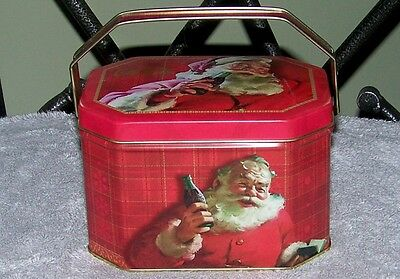 Nos 2005 Coca~Cola Handled Red Christmas Holiday Santa With Coke Bottle Tin