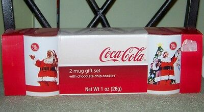 Nos 2007 Coca-Cola 2 Mug Gift Set Cookies Christmas Santa Things Go Better Coke
