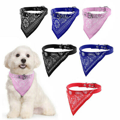 Pet Dog Cat Puppy Adjustable Neck Scarf Bandana with Leather Collar Neckerchief
