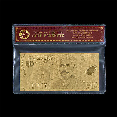 NEW ZEALAND $50 Dollars Banknote Pure Gold Plated Polymer Bill New In COA Sleeve