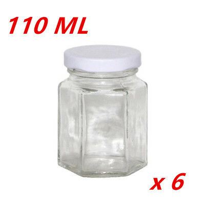 6 x Hexagon Shaped Clear White Screw Top Lid Lolly Storage JAR - Small (110ML)