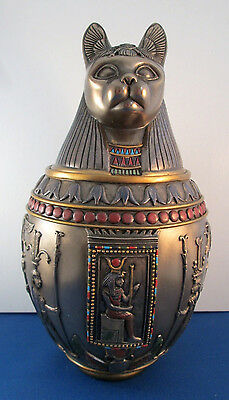 Egyptian Goddess Bast Bastet Canopic Jar Cat Cremation Ashes Funeral Urn #1510
