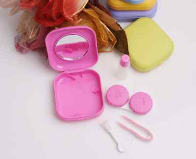 Mini Pocket Contact Lens Case Container Travel Kit With Mirror Plastic Small AHY