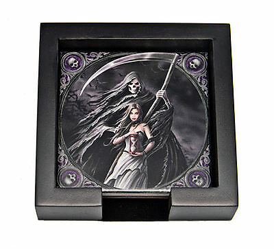 "Anne Stokes Summon Reaper 4 Coasters Felt Bottom 4"" Squares & Case Halloween"