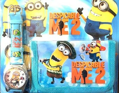 New Watch + Trifold Wallet Despicable Me Minion Kids Girls Boys Xmas Toys Gift T