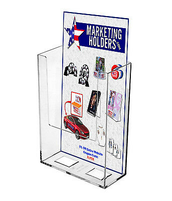 "Rack Card Wall - Mount Brochure Holder Holds 4"" Literature Tri Fold"