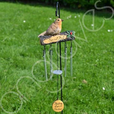 Special Dad at Christmas Thinking of You Memorial Wind Chime Graveside Robin
