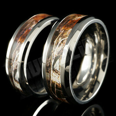 Titanium RealTree Forest Wood Oak Camo Men Womens Band Ring Comfort Fit 6MM 8MM