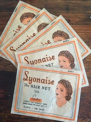 VINTAGE 1940s LYONAISE RAYON HAIR CHIGNON NET STAY FAST HAIR NETS  lot 11
