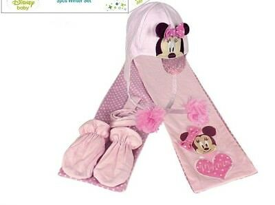 Baby Winter Set 3 tlg. Schal Mütze Handschuhe * Disney Minnie Mouse 6-18 Monate