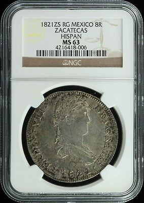 War For Independence 8 Reales 1821 Zs RG NGC MS63 KM111.5 29234