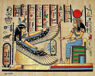 "Egyptian Hand-painted Papyrus Art: Hathor & Winged Maat 12"" x 9"" SIGNED IMPORTED"