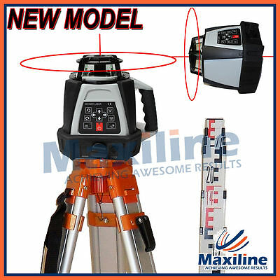NEW Auto Self Level Rotation Rotary Laser Level with Detector + Tripod and Staff