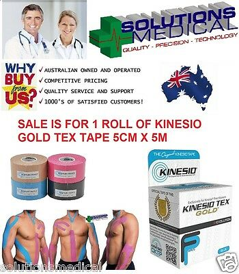 KINESIO TEX SPORTS GOLD TAPE SINGLE ROLL 5CM x 5M BLUE BLACK BEIGE PINK X1 ROLL