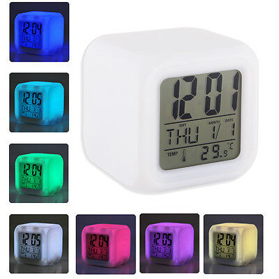 Glowing 7 LED Color Change Digital Glowing Alarm Thermometer Clock G 10 motiv