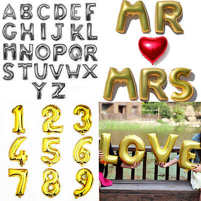 """Foil Letter A-Z 0-9 Number Balloons Brithday Party Wedding Decoration 16""""/40"""""""