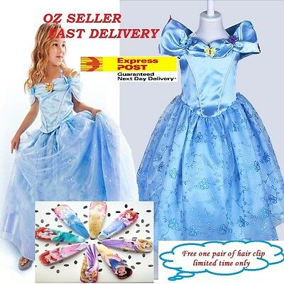 C1 Disney Princess Cinderella Kid Girl Dress Formal Birthday Party Costume Crown