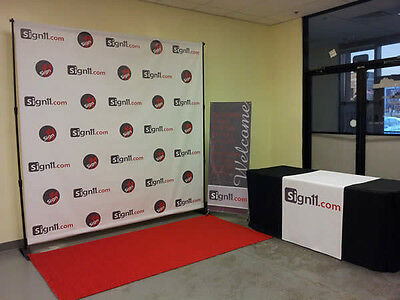Step and Repeat  Red Carpet Backdrop Banner 4'W x 8'H + Stand + Red Carpet 8x3