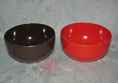 Rosti Denmark Small Bowls Red/Orange & Brown Soren Andersen 2037 Mepal Melamine