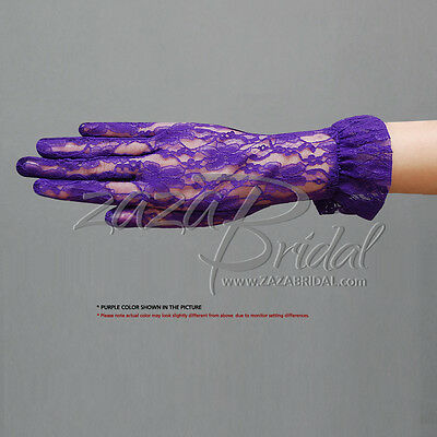 Flower Pattern Women's Lace Gloves with Ruffle-Wrist Length, Various Colors