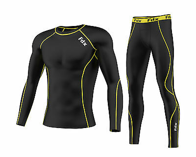 FDX Mens Compression Armour Base layer Top Skin Fit + compression Leggings set