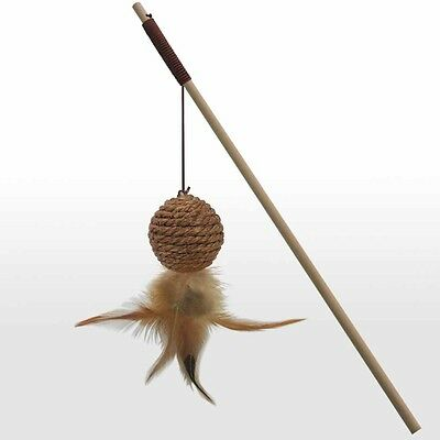 Sisal And Wood Cat Play Wand Toy - Fun - Game - Feather - Various Designs