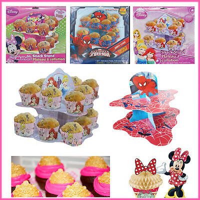 Party Cupcake Stand Disney Spiderman Toppers Table Setup Kids Celebration Fancy