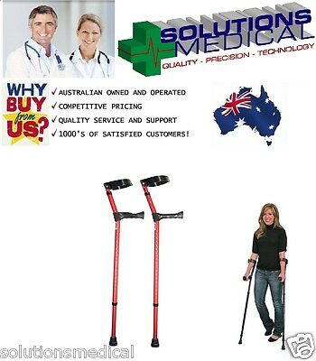 Crutches Red With Anatomical Grip Adjustable 18 Positions Bottom 3 Top