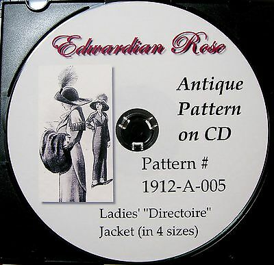 Antique Pattern on CD~ 1912 Striking Edwardian 'Directoire' Style Jacket~Sz S-XL