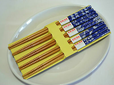 Japanese Natural Bamboo Chopsticks China Blue Art Gift 5 Pairs Deluxe Kit 01