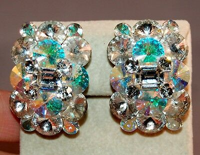 Brilliant Pair of Iridescent Vintage Rivoli Layered Large Earrings! STUNNING!