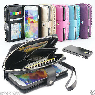 NEW Zip Wallet Flip Leather Case Cover For Samsung Galaxy S5