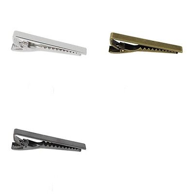 Luxury Mens Stainless Steel Tie Clip Plain Clasp Skinny Tie Bars Pins Chrome UK