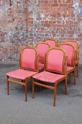 Set Of Six Retro Vintage Teak Dining Chairs For Upholstery Project - 6 Chairs