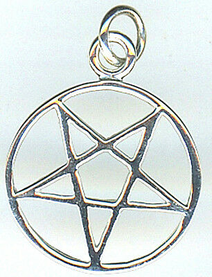925 Sterling Silver Upside DownPlain Pentagram in Circle Pendant 20mm DIA