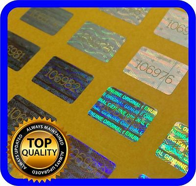 200 Hologram labels with serial numbers, warranty seals stickers 16x10mm