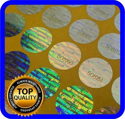 180 Hologram labels with serial numbers, warranty seals stickers round 15mm