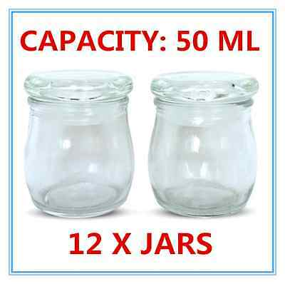 12 x Mini/Small Dessert Pudding/Lolly/Candy Glass Jar w/h Glass Seal lid 50ml AP