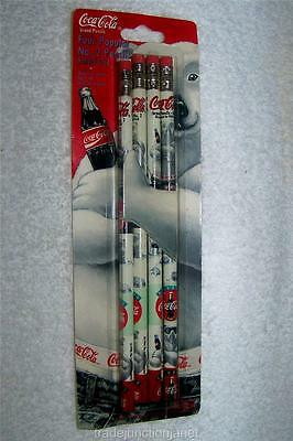 "MIP 1996 LE ""ALWAYS COCA-COLA"" FOUR POPULAR No 2 PENCILS w/POLAR BEAR DESIGN"