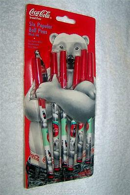 "MIP 1996 LE ""ALWAYS COCA-COLA"" SIX POPULAR BALL PENS w/POLAR BEAR DESIGN - BLACK"