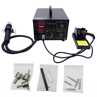 2in1 852D+ SMD SMT Soldering Rework Station Welding Hot Air & Iron 5Tips
