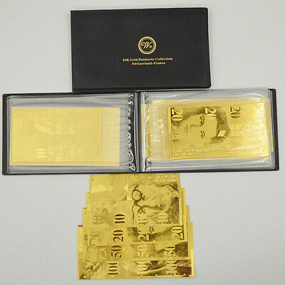 SWITZERLAND Banknote Album 6PCS Full 24k Gold Swiss Franc Bill Note Collection