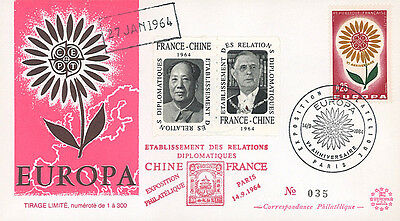 "FDC ""Establishing Relationship France - China / MAO ZEDONG & DE GAULLE"" 1964"