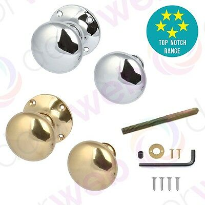 VICTORIAN DOOR KNOBS for RIM LOCK Round Mushroom Internal Interior BRASS CHROME