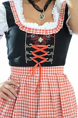 "3pcs Authentic Oktoberfest Dirndl Dress German Female Tracht Red ""SUNNY"""