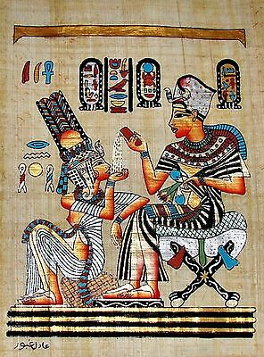Egyptian Handpainted Papyrus Art King Tut & Wife Scene From Golden Shrine SIGNED