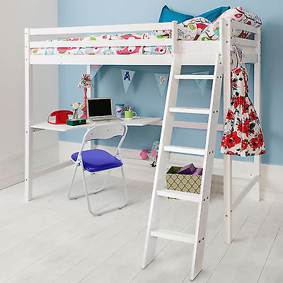 High Sleeper Cabin Bed with Desk Kids Bed - Thomas in Choice of Colours -