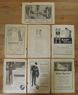 Lot of 7 Antique Early 1900s Print Ads PHILIP MORRIS WESTERN UNION COLGATE 7x10