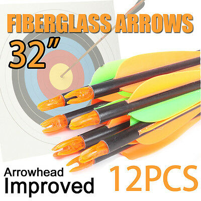 "12x 32"" 15-80 lb Fiberglass Arrows for Archery Crossbow Recurve Compound Bow OZ"