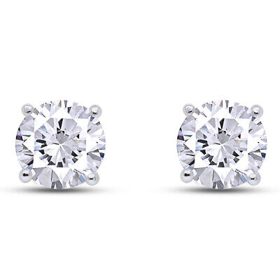 D/VVS Round Cut Solitaire Stud Earrings Push Back Solid .925 Sterling Silver